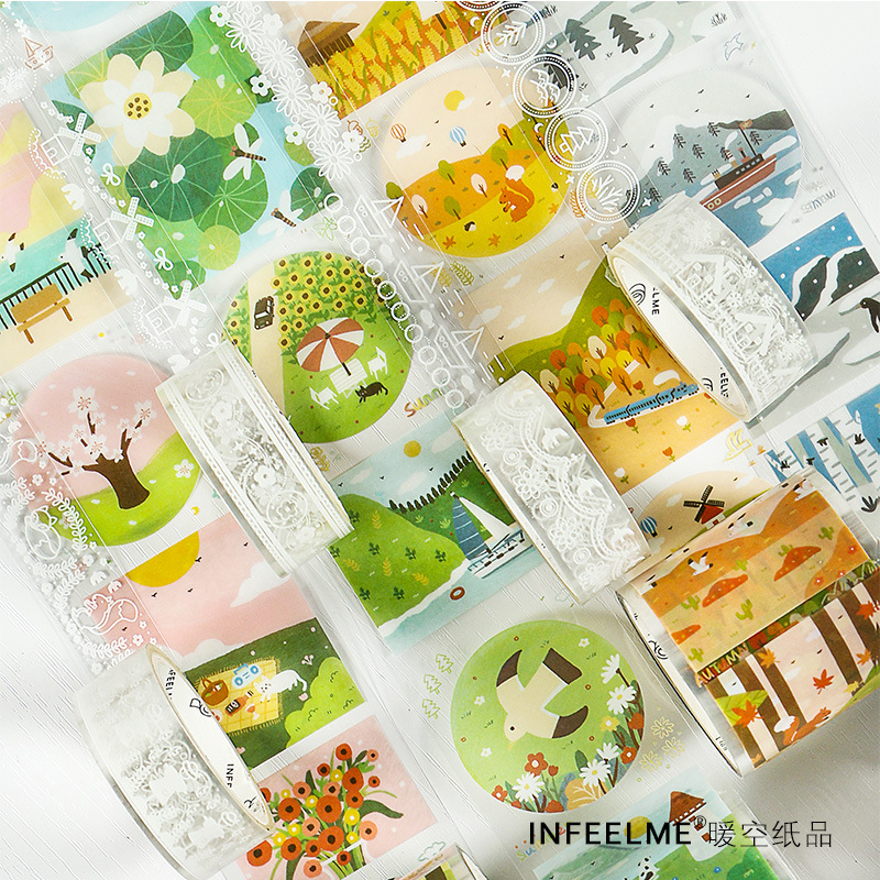 Mohamm 2 PCS PET Washi Tape Set Four Seasons Cute Kawaii Stationery Scrapbooking School Supplies Girl Decoration