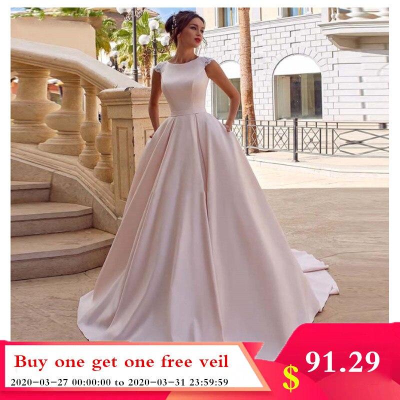 Smileven A Line Pink Wedding Dresses Satin Boho Ever Pretty Princess Bride Dress Floor Length Wedding Gowns 2020