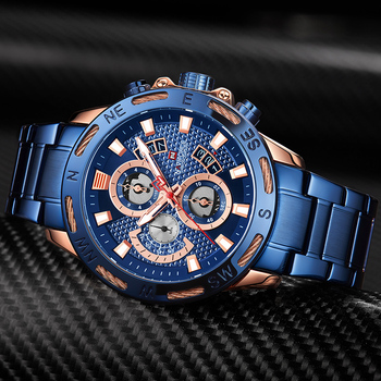 NAVIFORCE Top Brand Men Fashion Gold Watches Men's Waterproof Full Steel Quartz Watch Waterproof Male Clock Relogio Masculino 1