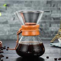 Pot de café en verre résistant à la chaleur de 400ml avec le filtre réutilisable d'acier inoxydable versent au-dessus du Pot d'égouttement de café expresso de cafetière