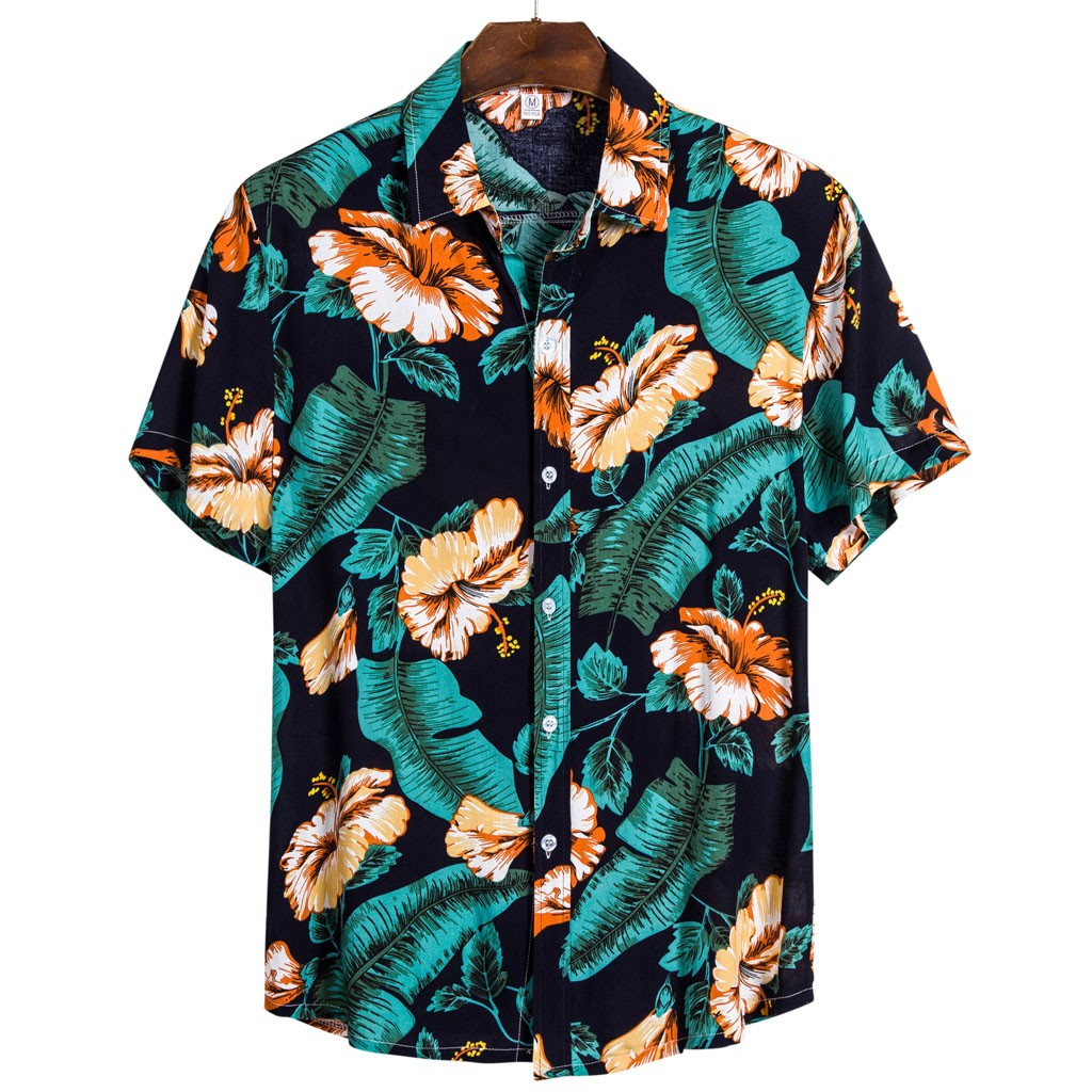 The Most Handsome Shirt! Mens Ethnic Short Sleeve Casual  Printing Hawaiian Shirt Blouse  рубашка Purchasing Wholesaler Summer