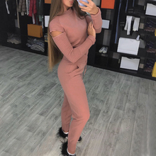 2019 Autumn Knitted Women Tracksuit 2 Piece Sets Open Shoulder Sleeve Pullovers Tops Pants Casual Knit Sport Suit