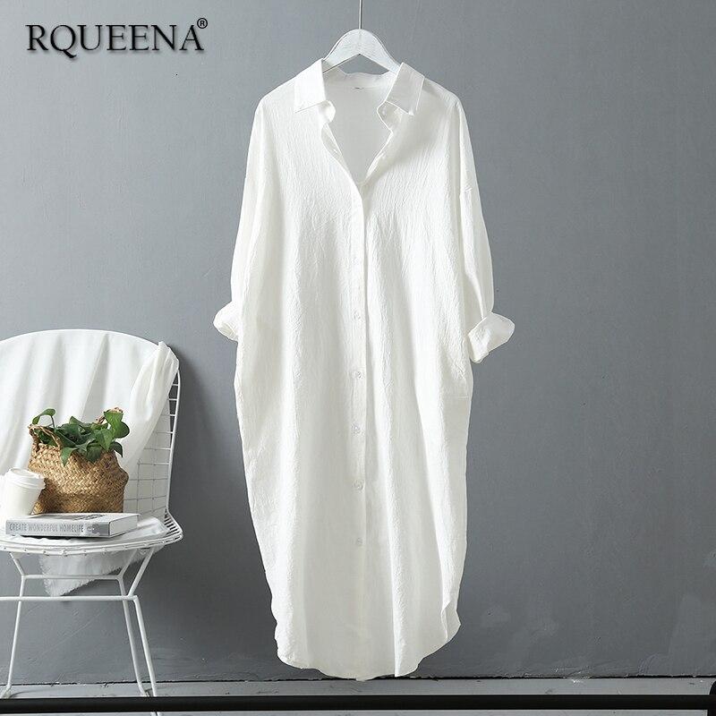 RQUEENA femmes Blouses 2019 automne longue chemise blanche femmes à manches longues col rabattu coton lin chemise pour les femmes SS025