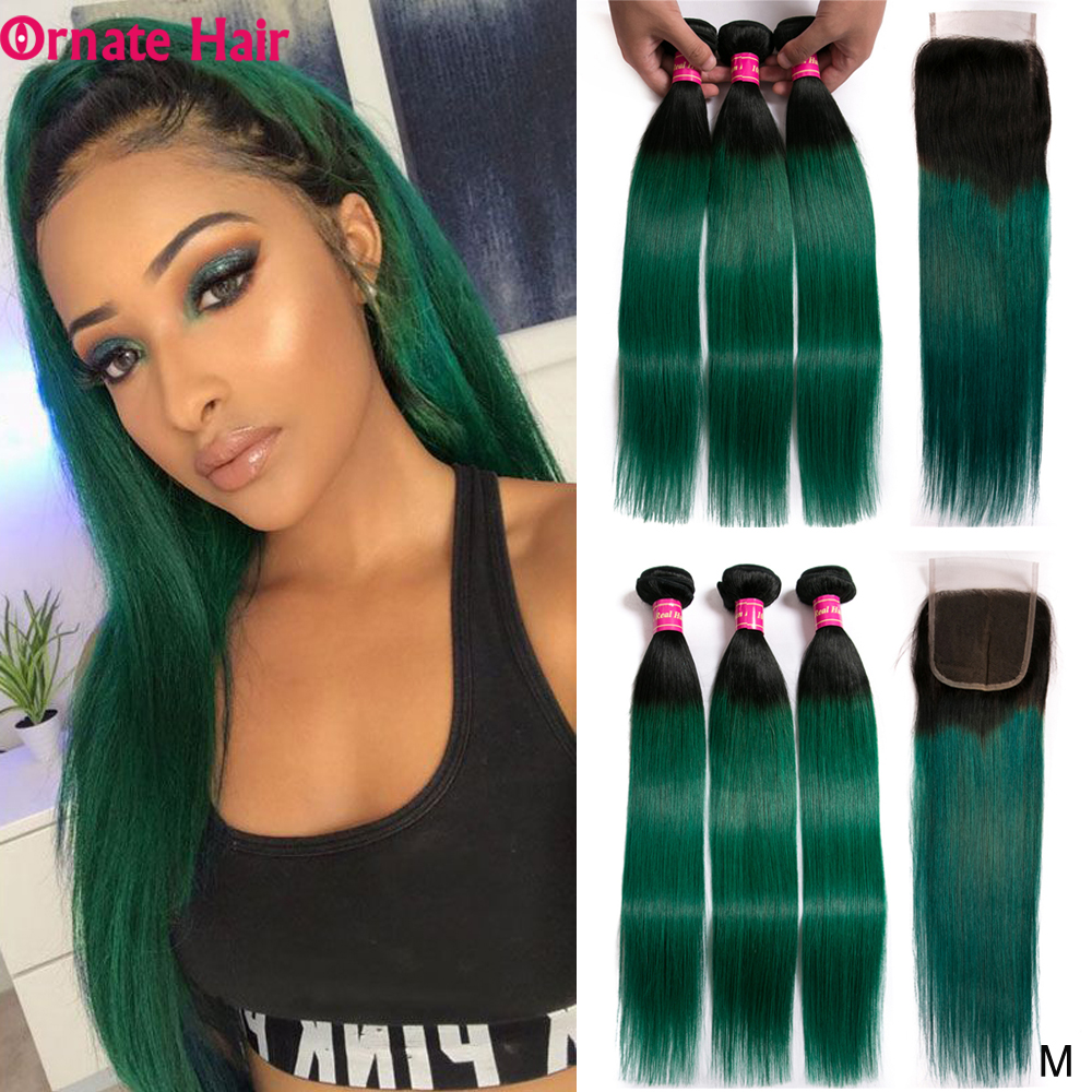 Ombre Bundles With Closure Brazilian Straight Hair Bundles With Closure Non-Remy Human Hair Bundles With Closure Middle Ratio