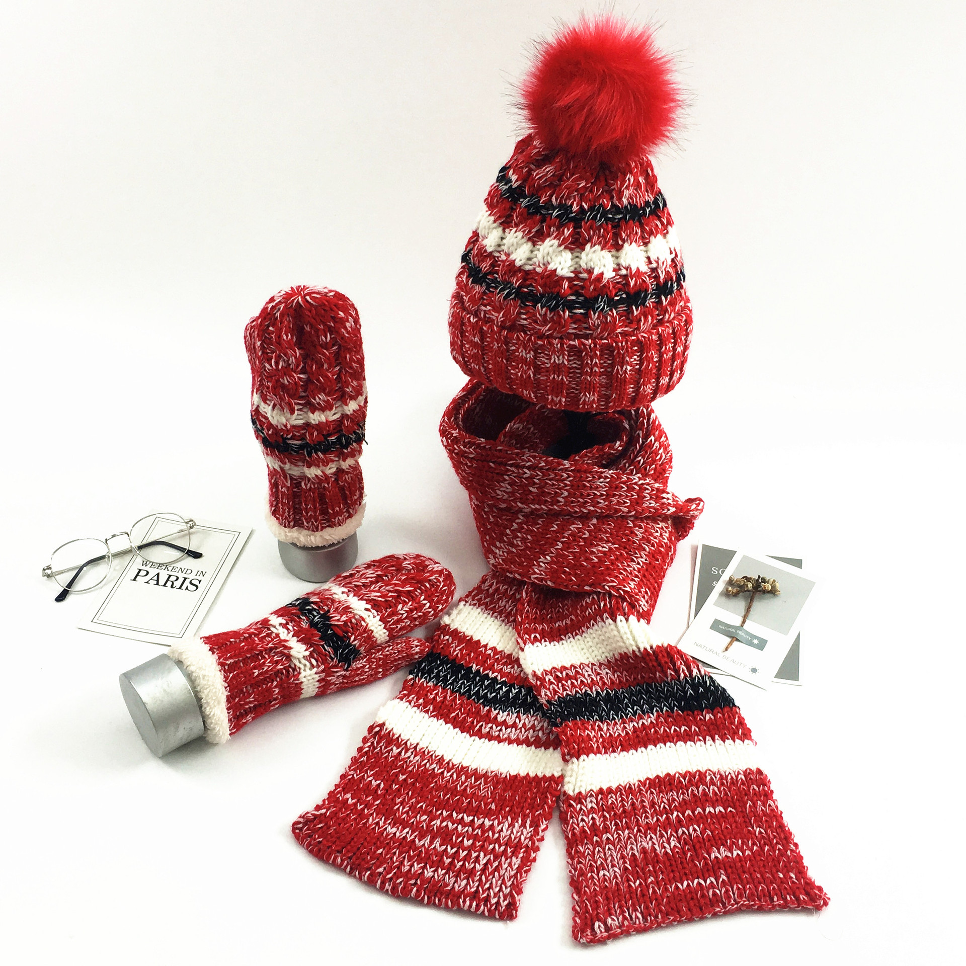 Woman Winter Hat And Gloves Sets Cotton Fashion Women Hat Scarf Gloves Set Solid Hat And Scarf Set For Women Knitted