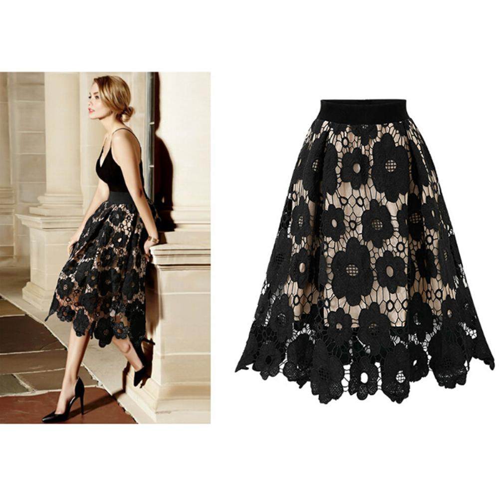 2019 New Women Skirt Vintage Crotch Lace Skirt Knee-Length High Waist Autumn Winter Midi Skirts Ladies Flared Skater F3