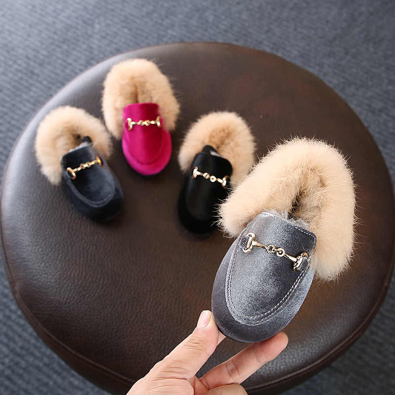 Baby Girls Shoes Warm Flats PU Leather Princess Shoes Winter Kids Fur Shoes Toddler Brand Black Loafer Fashion Moccasins