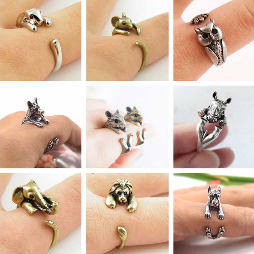 Cxwind Antique Rabbit Owl Fish Adjustable Rings for Woman Knuckle Fashion Animal Dog Cat Deer Jewelry Engagement Ring for Female