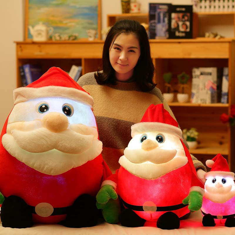 1pcs 30-70 CM Light Up LED Sing A Christmas Song Colorful Glowing Luminous Plush Santa Claus Stuffed Doll Toys Lovely kid Gifts image
