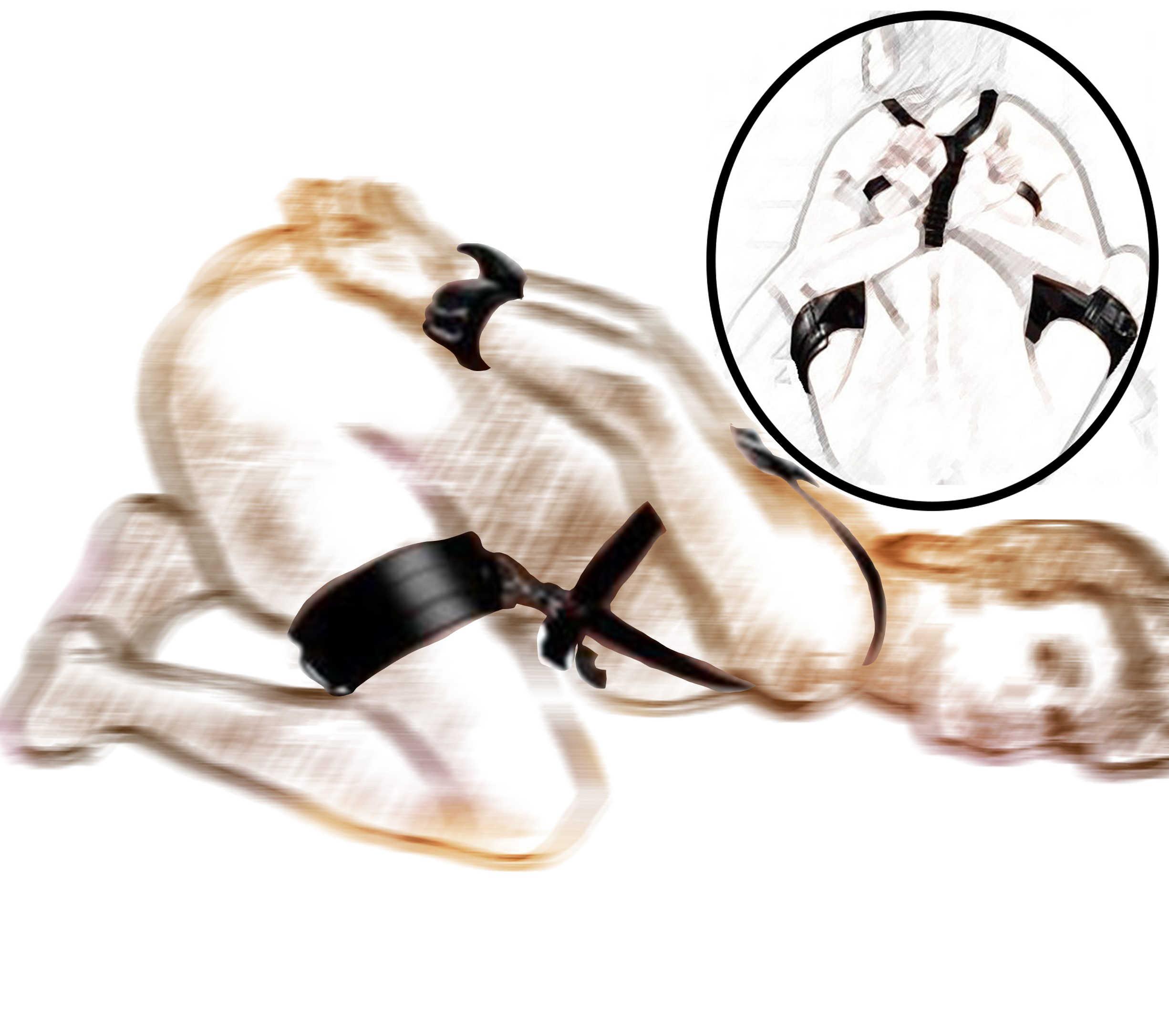 Uyluk kısıtlama Sling serpme makinesi, bacak açık Restraint kölelik demeti bilek manşetleri, seks pozisyonu yardım