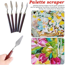 Knife Oil-Painting-Tool 5pcs Wood-Palette Stocked Multi-Functional Stainless-Steel