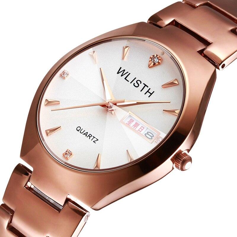 WLISTH Top Brand Men Women Quartz Watch Tungsten Steel Lovers Rose Women Couple Calendar Quartz Clock Waterproof Watches 2019