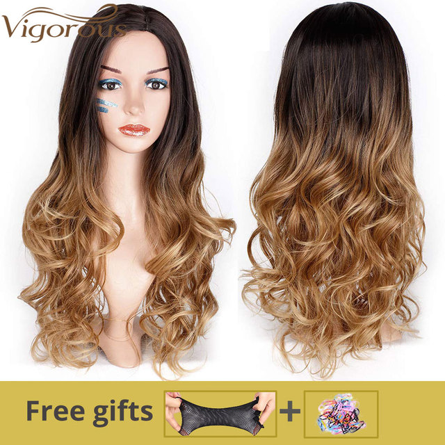 Vigorous Long Ombre Brown Blonde Wavy Wig Natural Hair Part Synthetic Wigs for Women Glueless Cosplay Heat Resistant Party Wig 4