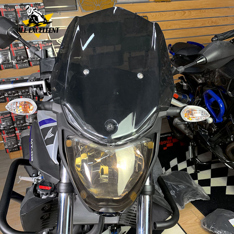 For YAMAHA MT03 MT 03 2015-2018 Windshield Windscreens & Front Headlight Screen Lens Cover Protector Guard Headlamp Shield