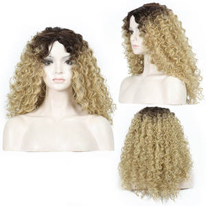 Wig Blonde Curly Heat-Resistant Brown Synthetic Ombre Women 40cm Medium for High-Temperature-Fiber