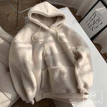 2020 inverno nova juventude preenchido com pelúcia quente casual com capuz solto-ajuste pulôver hoody womens/40