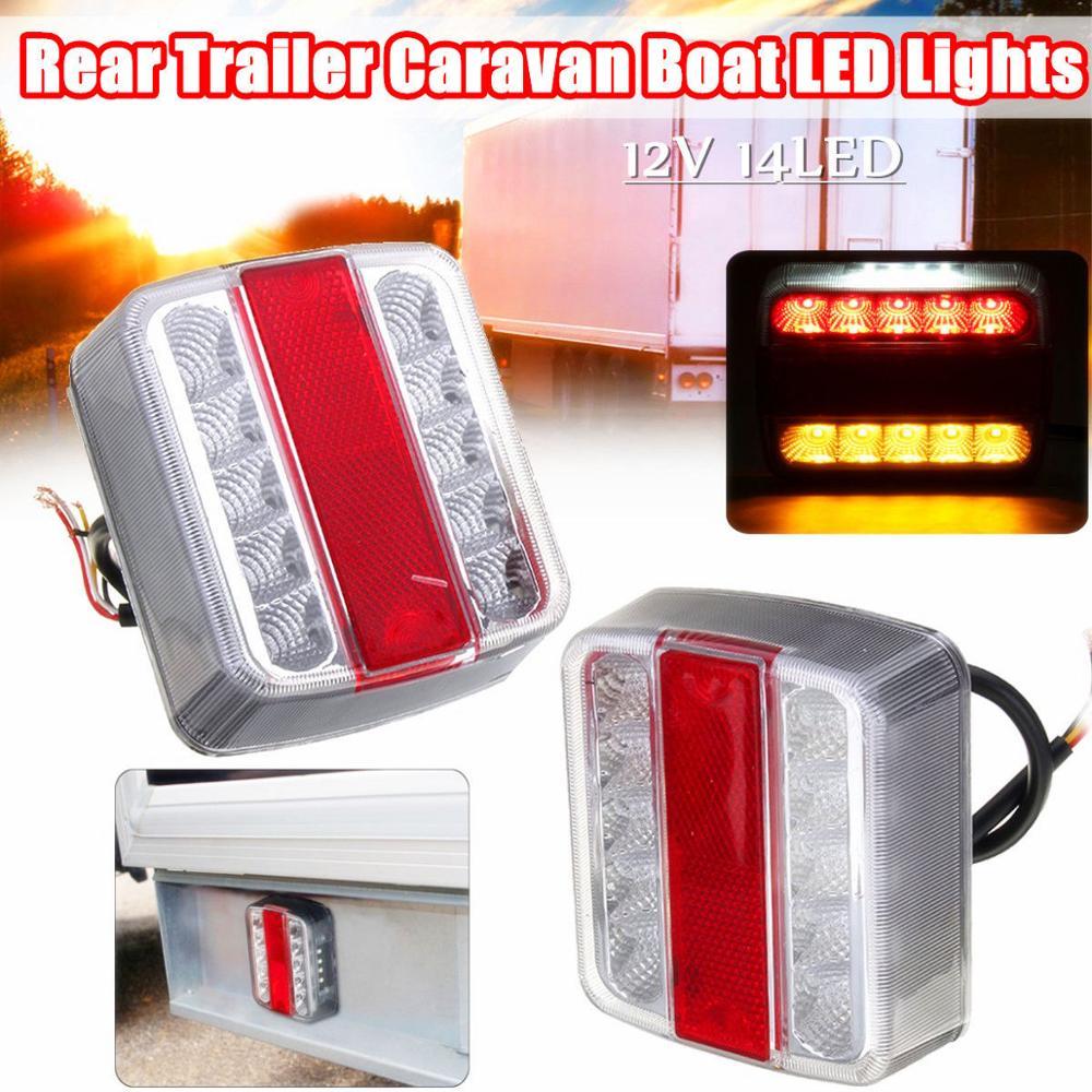 2PCS Motor Home Trailer Rear Lights 12V Universal Tail Light Truck LED Tail Lights Lantern Rear Trailer Lamps