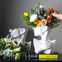 Современная креативная портретная ваза в скандинавском стиле, цветочные вазы с человеческой головой, декоративные украшения, домашние цве...