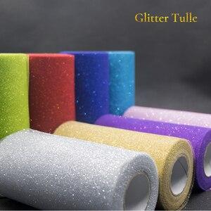 Image 3 - Rollo de tul de lentejuelas con purpurina, 25 yardas, decoración de boda, oro, láser, Organza, plata, brillante, lentejuelas, tul, suministros de fiesta