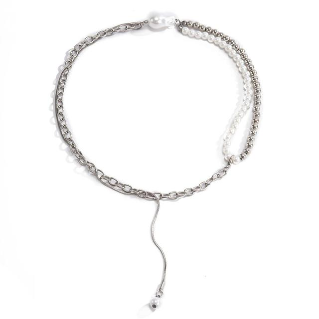 Goth High Quality Pearl Chain Necklace  2