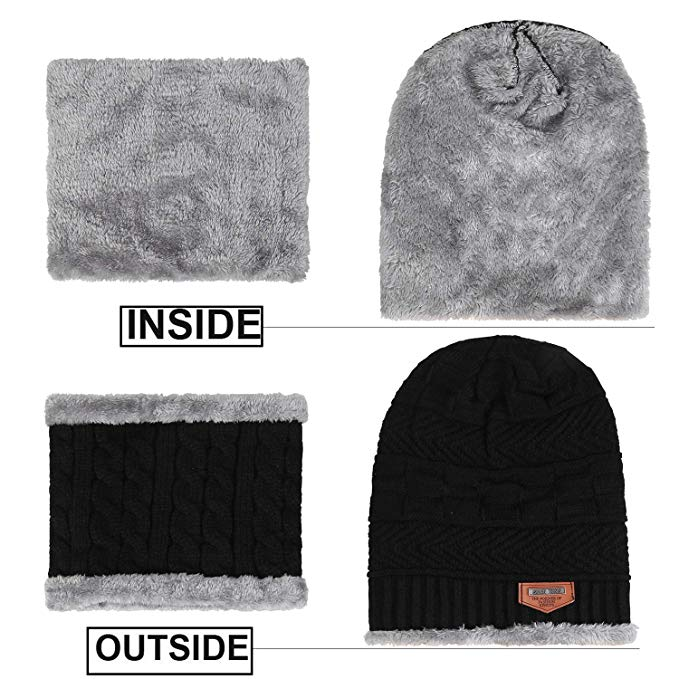 hot selling 2pcs ski cap and scarf cold warm leather winter hat for women men Knitted hat Bonnet Warm Cap Skullies Beanies 5