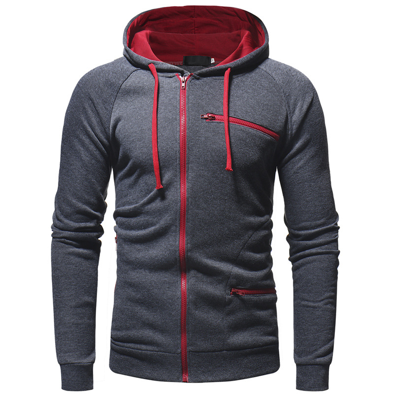 Helisopus New Men Hoodies Sweatshirt Autumn Long Sleeve Solid Color Hooded Sportswear Casual Jacket Slim Cardigan Pullover