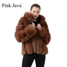 Różowy Java QC19018 kobiety płaszcz zimowy futro kurtka płaszcze z prawdziwego futra z lisów naturalne futrzane kurtki długie rękawy gorąca sprzedaż stojak kołnierz