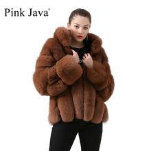 ピンクjava QC19018女性コート冬の毛皮のジャケット本物のキツネの毛皮のコート毛皮のジャケット長袖ホット販売スタンド襟