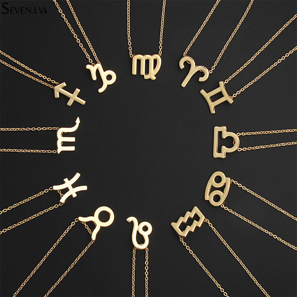 12 constellation Charm Gold Necklace Zodiac chain alloy Card Necklace Aries Aquarius charm jewelry for women and men
