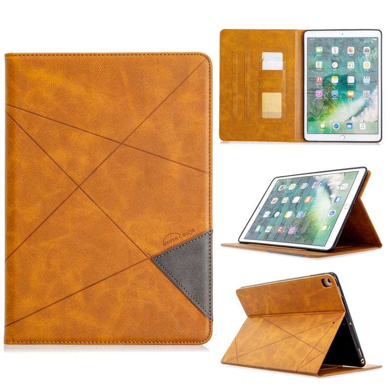 light brown Yellow Luxury Flip PU Leather Tablet Case For iPad 10 2 2019 Wallet Stand Funda For iPad