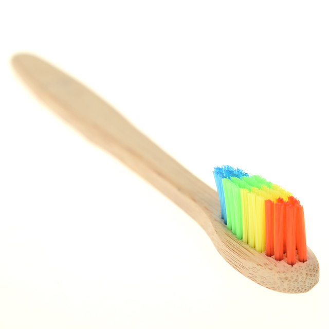 Wooden Rainbow Bamboo Toothbrush Cleaner Soft Bristle Dental Oral Care Adult Color Brush Fiber Antibacterial Disposable