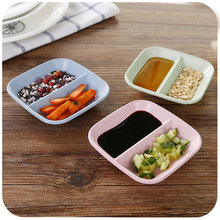 Wheat Straw Square Dessert & Beverages Plate Dish Solid Pink Beige Sushi Soy Sauce Candy Dried Fruit Plate 9*9cm 1PC