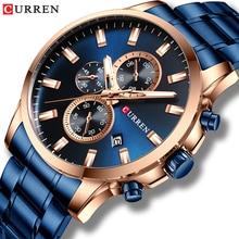 CURREN relojes deportivos de cuarzo para hombre, con manecillas luminosas, cronógrafo, fecha automática, reloj de pulsera de acero inoxidable