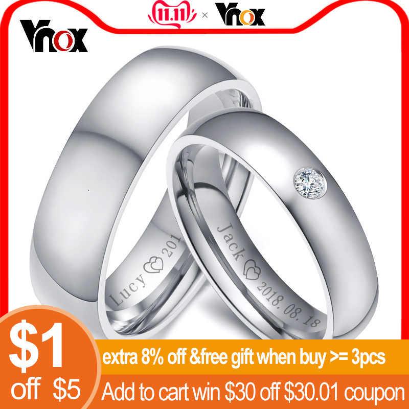 Vnox בסיסי חתונה להקות טבעות לנשים גבר אישית שם תאריך אהבה מידע מבטיחים יום נישואים אישית מתנה מדהים מחיר
