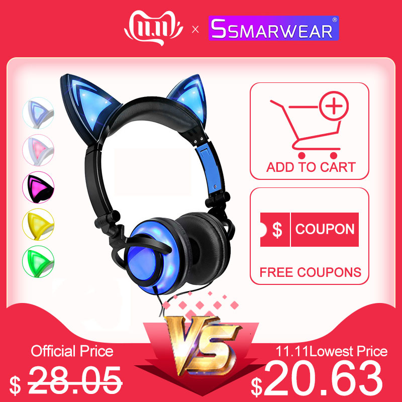 New Cat Ear Headphones With LED Light USB Rechargeable Wired Foldable Over/On Earphones Game Headset For Computer Mobile Phone