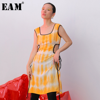 [EAM] Women Printed Hollow Out Drawstring Sexy Dress New Round Neck Sleeveless Loose Fit Fashion Tide Spring Summer 2020 JY074