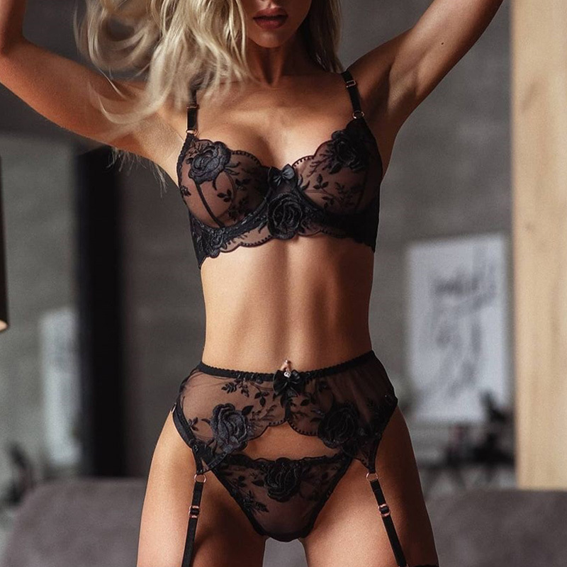 Embroidery Sexy Lingerie Women Thin Transparent Lace Push Up Bra Set Bra+Garters+Thong 3 Piece Set See Through Underwear Black