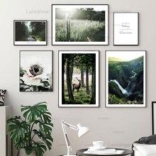 Горный лес Холст Картина натуральный цветок скандинавский Плакаты