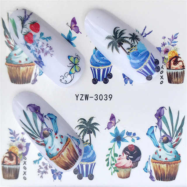 1 Pcs 2018 Hot Sale Nail Stickers on Nails Blooming Flower Stickers for Nails Lavender Nail Art Decals YZW-3039