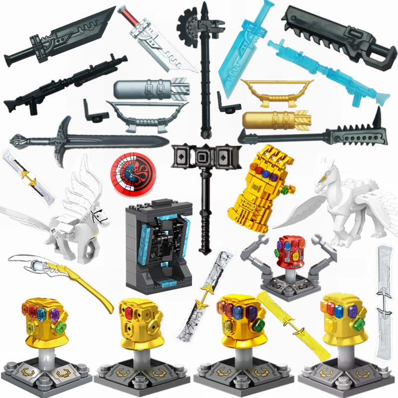 Superheroes Movies Figures Building Blocks Weapons Accessories Parts Super Heroes Movies Toys For Children Figure Block Toy Kits