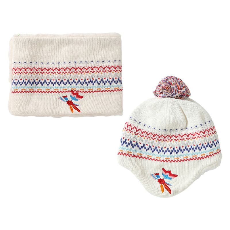Toddler Kid Winter Warm Plush Lined Pompom Embroidery Earflap Hat Infinity Scarf