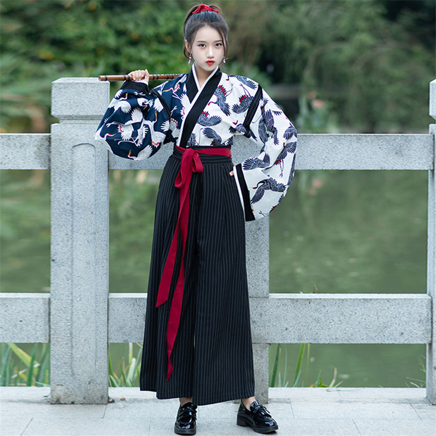 Kimono Traditional Japanese Samurai Costume Women Vintage Crane Print Top Pants Suit Yukata Haori Japan Cardigan Party Cosplay
