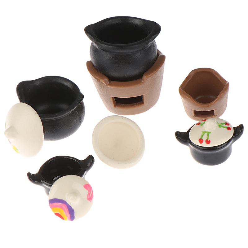 1:12 Dollhouse Mini Vintage Charcoal Stove Soup Pot Simulation Model Cooking Utensils Furniture Toys For Doll House Decoration