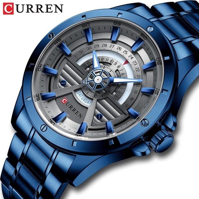 Мужские кварцевые часы из нержавеющей стали CURREN