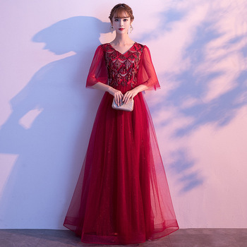 Plus Size 3XL 4XL For Chinese Women Luxury Sexy Elegant Bridal Wedding Dress Lace Pleated Dresses Beads Qipao Evening Party Gown