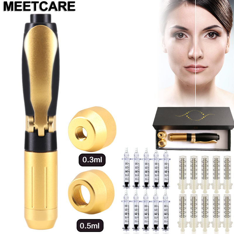 2 In 1 Meso Injection Gun Hyaluronic Pen 0.3ml &0.5ml Head Gold Hyaluronique Acid Pen Lip Filler Injector Noninvasive Nebulizer