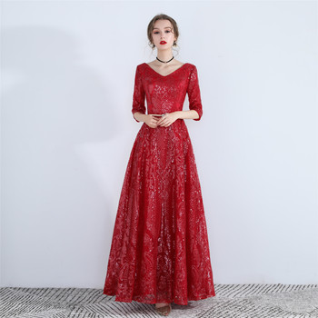 Women's V neck long sequined bling bling formal Evening Dress robe de soiree/вечернее платье/vestidos de fiesta de noche