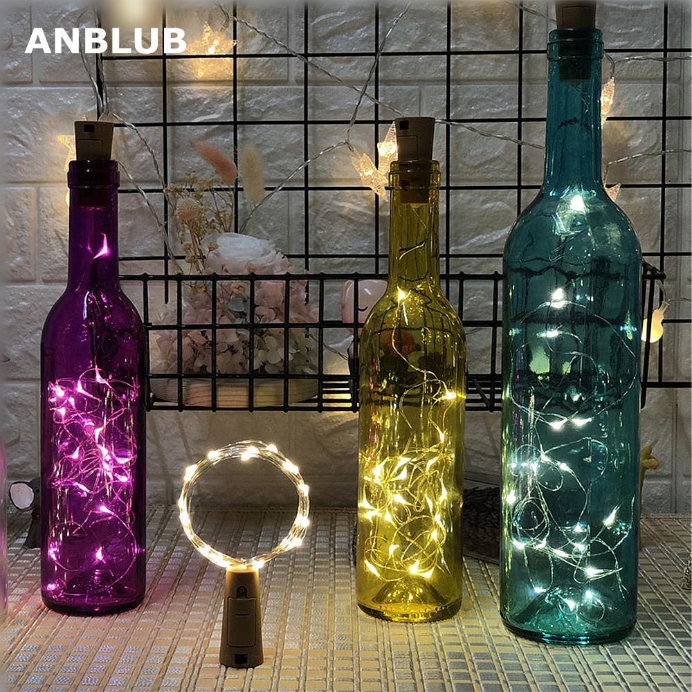 ANBLUB 1M 2M LED Garland String Fairy Lights For Glass Craft Bottle New Year Christmas Tree Wedding Party Decoration 5pcs/lot