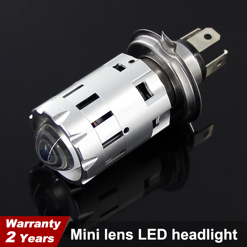 1pcs H4 Hi Lo Beam Motorcycle LED Headlight Mini Bi-LED Headlight Lens Fit Most Motorbike LED Lamps Bulb 4800LM 6000K 3000K 12v
