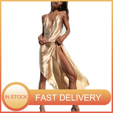 Summer Stain Sexy Dress 2021 Ladies Slip Deep V-Neck Backless Long Beach Dress For Women Spaghetti Strap Evening Party Dresses